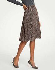 Ann Taylor Geo Dot Chiffon Pleated Full Skirt Size 8