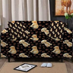 Paw Print Puppy Dog Sofa Couch Chair Cushion Stretch Cover Slipcover Set Decor