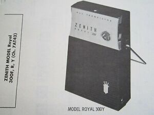 ZENITH ROYAL 300F, 300R, & 300Y TRANSISTOR RADIO PHOTOFACT
