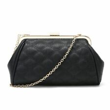 Ladies Party Clutch Bag Club Luxury Evening Prom Hard Case Gold Chain Strap R Quilted - Black