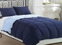 3pcs Navy Light Blue Reversible Super Soft  Down Alternative Comforter Set Queen
