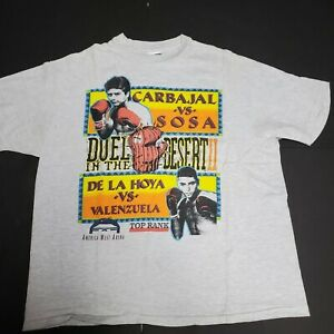 Vintage 1993 Duel In The Desert 2 Oscar De La Hoya Michael Carbajal T-Shirt XL