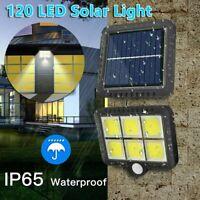 120LED COB Solarleuchte Solarstrahler mit Bewegungsmelder Wand Außen Gartenlampe