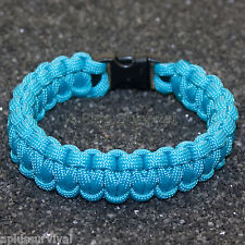 Neon Turquoise - 550 lb Type III Paracord Survival Rope Bracelet Made in USA