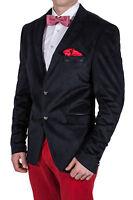 Herren Casual Sakko dunkelblau, Zweiknopf Jackett Velours Jacke Anzug blazer