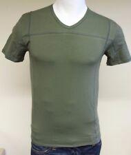 GUESS DESIGNER Men's V Neck S/sleeved T-shirt Green Medium Uu4i21