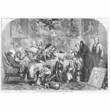 CHRISTMAS Uncle Williams Christmas Presents by John Gilbert - Antique Print 1856