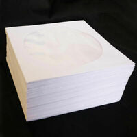 Mini 100 Pc White Paper Disc Bags Cases Media DVD CD Cases& Sleeves Packagi U1W6