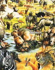 Animale selvatico Regno ZEBRA HIPPO ELEFANTE RHINO GATTI imperforated TIMBRO foglio