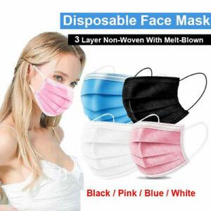 50 x Premium Quality - Face, Mouth & Nose Protection BLACK BLUE Masks UK