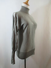 LUXE ARDEN B WOMENS S SMALL GRAY CASHMERE SILK TURTLENECK SLIT SLEEVE SWEATER