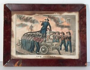 1840s AMERICAN FIREMAN HAND COLORED STONE LITHOGRAPH PRINT CURRIER & IVES TYPE