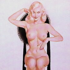 Vintage Original IVORY AND BLACK German ALBERTO VARGAS PINUP PRINT 1940s NOS