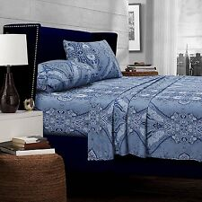 Cal King Size Paisley Blue Multi Sheet Set 4 Piece Cotton 300TC Deep Pockets 22""
