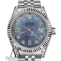 Rolex 26mm Datejust Tahitian Mother of Pearl Diamond 8+2 18K White Gold SS Watch
