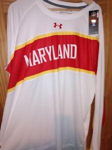 Maryland Terrapins Under Armour Shirt Men's White Red Yellow Heat Gear NEW 2XL