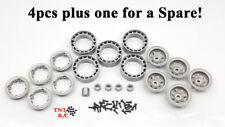 "5 Bead Lock 1"" Grey Rims / Wheels 7mm Hexes for 1/24 & 1/18 r/c rock crawlers"