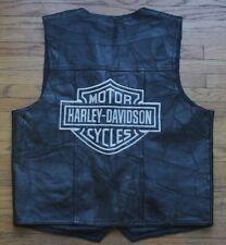 Harley Davidson Embroidered Italian Leather Patch Work Vest Black Mens Large