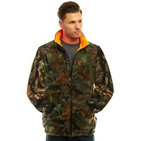 MEN'S REVERSIBLE CAMO & BLAZE ORANGE FLEECE HUNTING JACKET - FULL ZIP WARM COAT