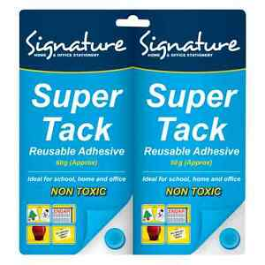 Blu Tack Super Blue Tac Re-usable Adhesive Putty Repositionable Glue 2 x 75g OTL