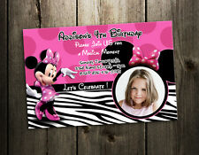 MINNIE MOUSE ZEBRA BIRTHDAY PARTY INVITATION PHOTO 1ST CUSTOM CARD INVITE - C1