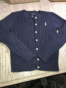 Ralph Lauren Girls Cable Sweater Cardigan Button Up Navy Size 6X