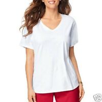 Just My Size Women's White V-Neck Tee Size 5X 30W-32W
