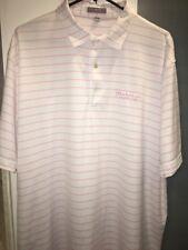 Peter Millar Summer Comfort Pink/Wht Striped Hoakalei Hawaii Golf Shirt XL