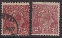 Australia KGV 2 x 2d red/brown s/crown w/m shades ACSC 97A, 97B Cv $40