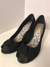 """Womens Size  7 1/2 w AMERICAN EAGLE Black Open Toe Wedge Cork Heel 3"""""""