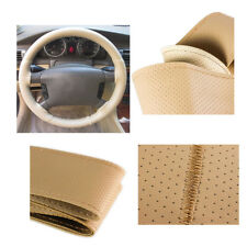 DIY 38cm/15'' BEIGE Car Steering Wheel Cover w/ Needle Thread Anti-Slip Leather