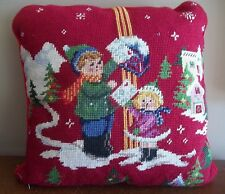 Letters to Santa kids children Christmas holiday accent throw Needlepoint Pillow