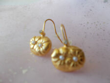 Gold Plate elegant flower Earrings decorated with pearl and swarovsky crystal