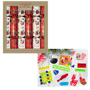 12 Pack Luxury 34cm Christmas Crackers - Berries Red / White