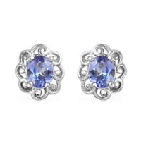 Platinum Over 925 Sterling Silver Blue Tanzanite Solitaire Stud Earrings Cts 0.7