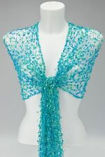 AQUA GREEN & BLUE NET SCARF / SHAWL WRAP cobweb lace wedding fair trade handmade