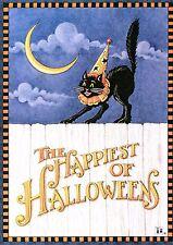 Mary Engelbreit-Happiest Of Halloweens Cat Moon-Halloween Card w/Envelope-New