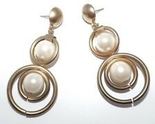 Vintage Mod Gold Hoop Pearl Drop Dangle Runway Statement Earrings