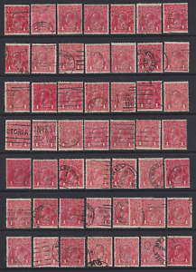 AUSTRALIA  1914-18: 1d red KGV x50 · all sound & collectable, usual shades etc.