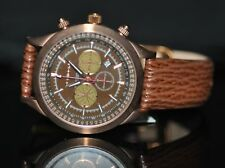 Invicta Men's PW0094 Poseidon Chronograph Brown Dial Brown Genuine Leather Watch