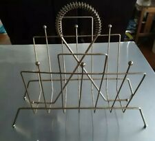 Vintage Mid Century Modern Atomic Magazine Rack Record Holder Brass Plated