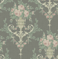 Neoclassical Floral Rose Wreath Charcoal Gold Pink Green Double Roll Wallpaper