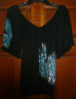 VINTAGE ARDEN B PEACOCK FEATHER CHAIN DETAIL WOMEN'S SIZE S BLACK TOP