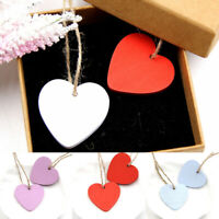 10pcs DIY Wooden Heart Pendant Wood Chips Plaque Message Crafts Wedding/Party