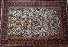 "Genuine Antique Fine 70% Silk Kashmir Rug Tree Of Life Design 72"" X 50"""
