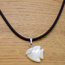 Marvelous Leather Mother of Pearl Crystal Cute Coral Fish Pendant Necklace 46 cm