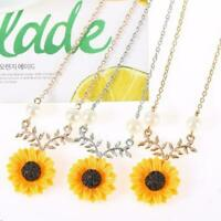 Women Boho Pendant Clavicle Sunflower Necklace Branch Jewelry Gift Le B5O1