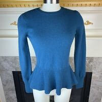 AUTUMN CASHMERE S Teal Green Long Sleeve Peplum Button Back Cashmere Sweater