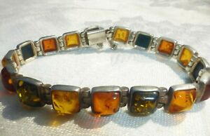 """WELL MADE Vintage STERLING SILVER AMBER LINK BRACELET w/Safety Chain 7 1/3"""""""