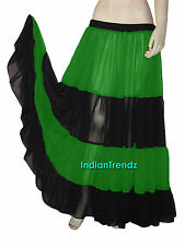 Red & Black Chiffon 6 Yard 4 Tiered Gypsy Skirt Belly Dance Tribal Flamenco Mix